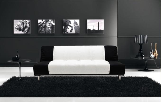 Divano Letto Bianco E Nero : Divano letto reclinabile microfibra bianco e nero divani