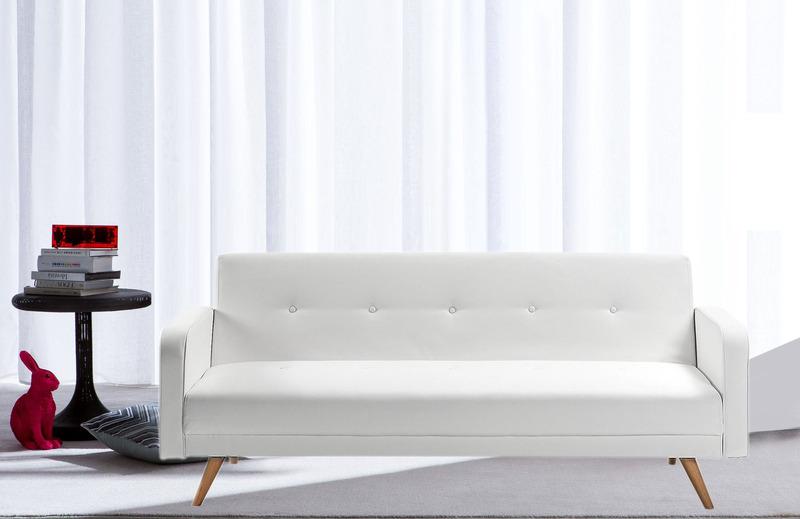 Divano letto litz reclinabile ecopelle bianco