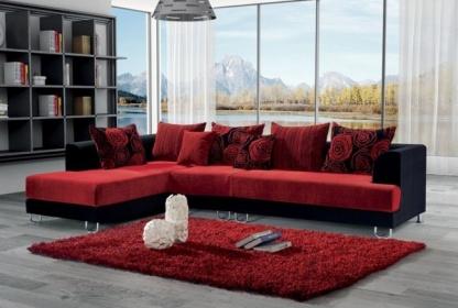 Divano Rosso Angolare.Divano In Tessuto Angolare Rosso
