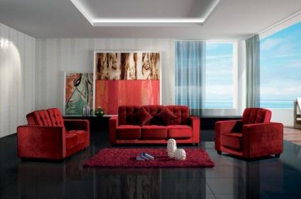 Salotto Con Divano Rosso.Divano Salotto Con Poltrona In Tessuto Rosso