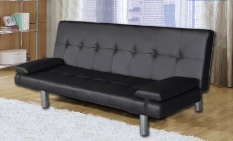 Divano Nero Cuscini : Divano letto 3 posti reclinabile ecopelle nero con cuscini divani.it
